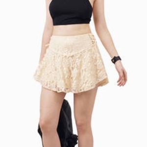 Tobi sunny day lace cream mini skirt with ties